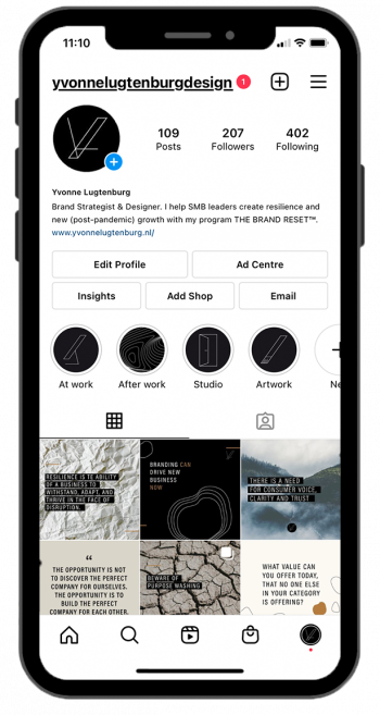 image of iphone with The Brand Reset IG account